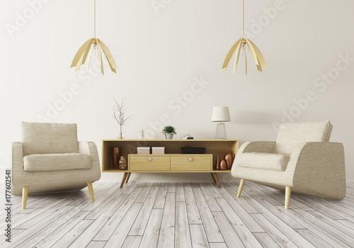 Fototapeta Wnętrze z drewnianym gabinetem i dwa karłami 3d renderingiem