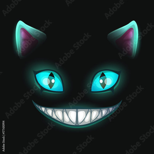Fantasy scary smiling cat face on black background. Canvas Print