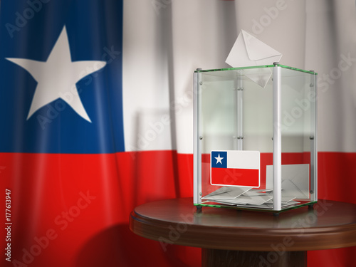 Stickers pour porte Pierre, Sable Ballot box with flag of Chile and voting papers. Chilean presidential or parliamentary election or referendum.