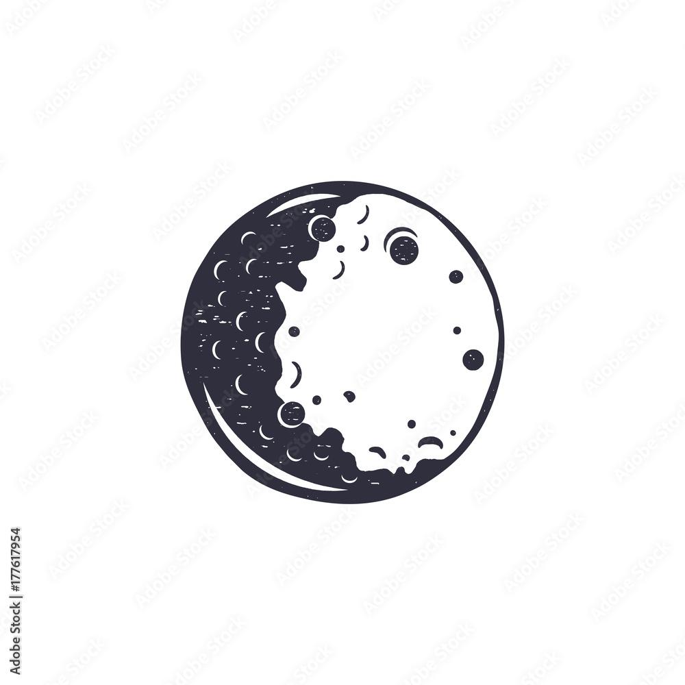Fototapety, obrazy: Vintage hand drawn moon symbol. Silhouette monochrome moon icon. Stock vector illustration isolated on white background. Retro design