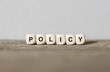 canvas print picture - Word POLICY made with wood building blocks