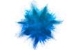 Leinwandbild Motiv Freeze motion of blue powder explosions isolated on white background