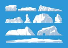 Icebergs Set On Blue Background
