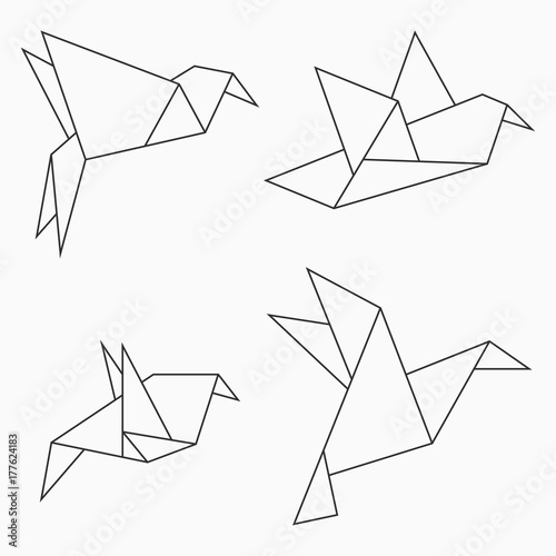 Origami Bird Collection Set Of Line Geometric Shape For Art Folded Paper Vector