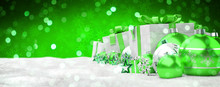 Green And White Christmas Gifts And Baubles Lined Up 3D Rendering