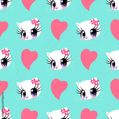 Photo  Pattern with pink hearts and cats for Valentine's Day.