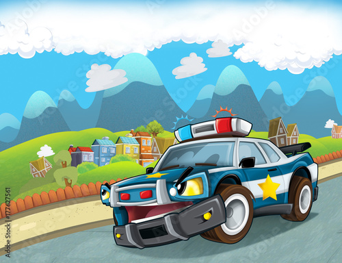 Fotobehang Boerderij cartoon scene with police car looking at the moon and stars illustration for children
