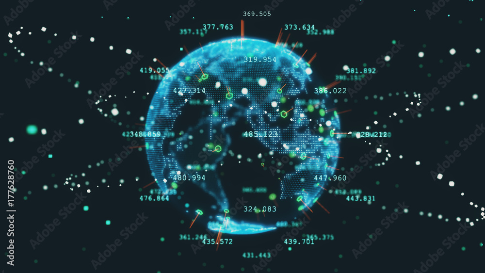 Fototapety, obrazy: Rotating planet earth future 3d illustration technology business concept