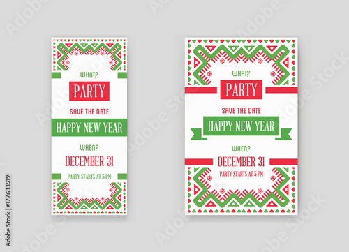 set of vector happy new year or merry christmas theme save the date