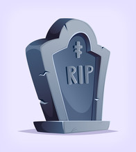 Old Cartoon Grave Design. Vect...