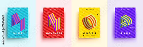 Fotografie, Obraz  Modern Typographic Colorful Covers