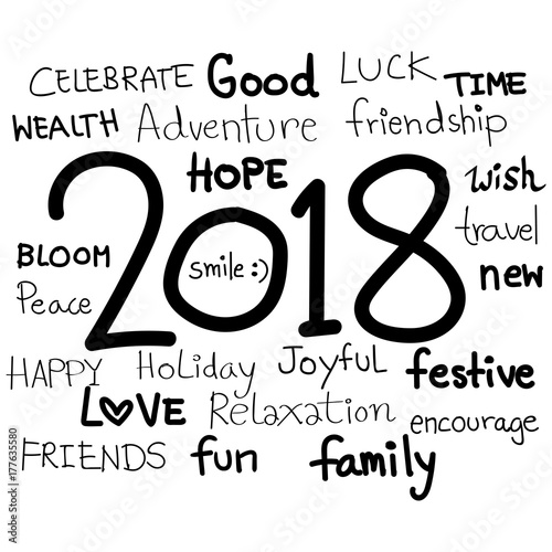 World International holiday Happy New Year 2018 doodle styles with ...