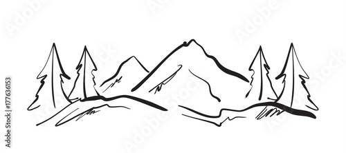 Fototapeta Vector illustration: Hand drawn Mountains sketch landscape with hills and pines.  obraz