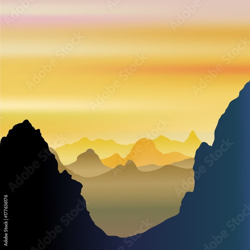 Photo Stands Draw Mountains Breathy and Misty Landscape