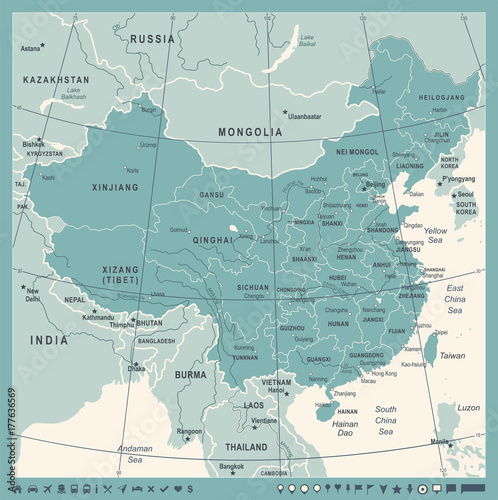 Cuadros en Lienzo  China Map - Vintage Vector Illustration