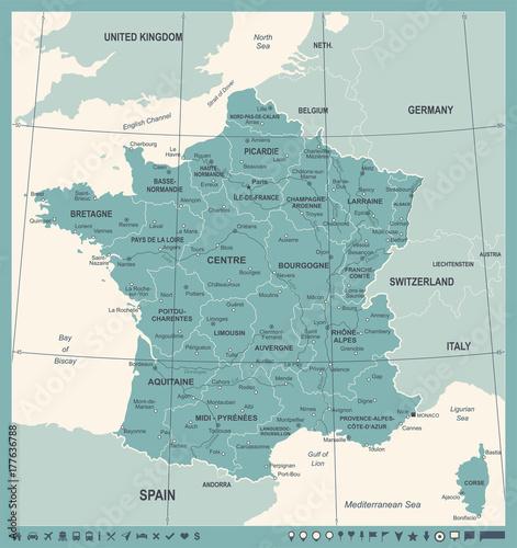 Photo  France Map - Vintage Vector Illustration
