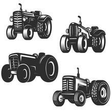 Set Of Retro Tractor Icons. De...
