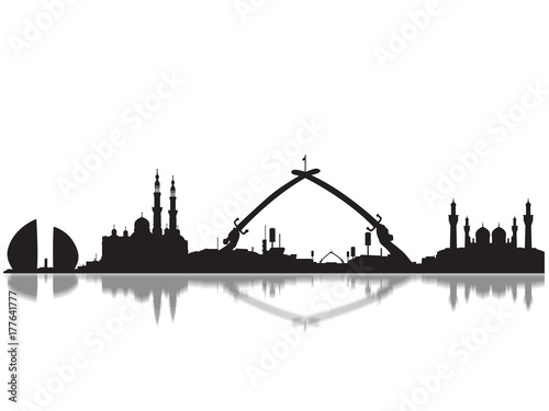 Detailed Baghdad Monuments Skyline Silhouette Fototapeta