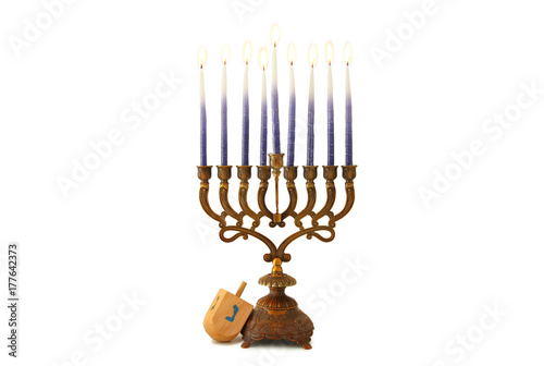 Fotografie, Obraz image of jewish holiday Hanukkah with menorah (traditional candelabra) isolated