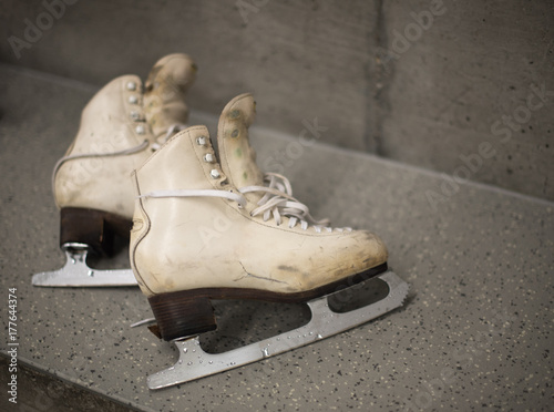 professional ice skating shoes in dressing room after training buy