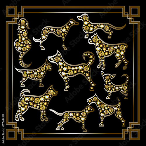 Graphic illustration with decorative dogs_set Poster