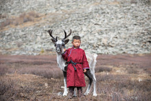 Little Tsaatan Boy With A Rein...