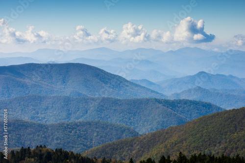 Fotografie, Obraz  Blue Ridge Mountains Smoky Mountain National Park wide horizon landscape backgro