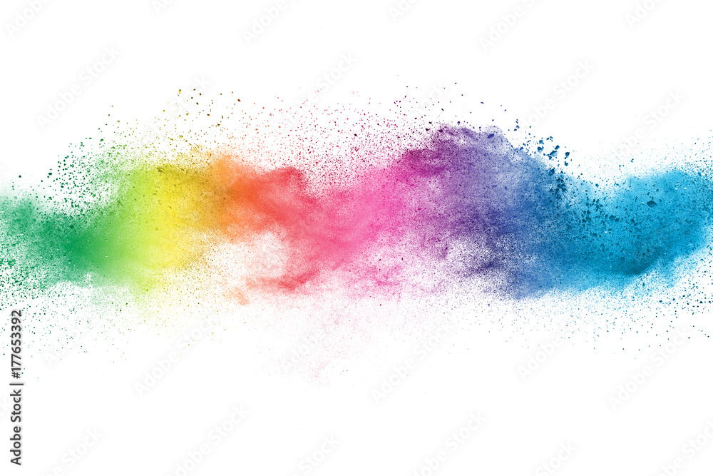 Fototapeta Explosion of colored powder isolated on white background.