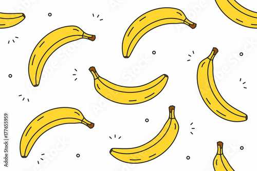 Bananas seamless pattern. Vector illustration Fototapete