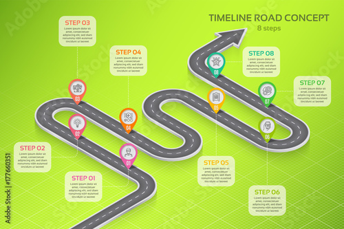Isometric navigation map infographic 8 steps timeline concept Canvas Print