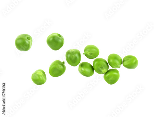 Fresh green peas on a white background, top view