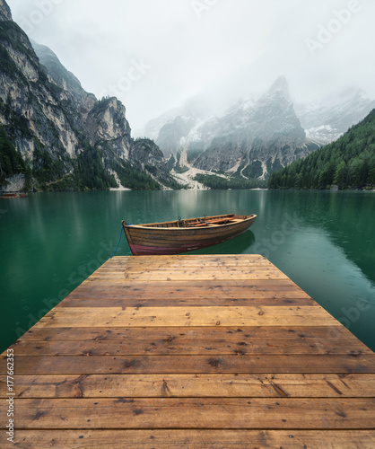 Fotobehang Meer / Vijver Lake in the mountain valley in the Italy. Beautiful natural landscape in the Italy mountains.