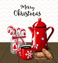 Red Vintage Coffee Pot With Cu...