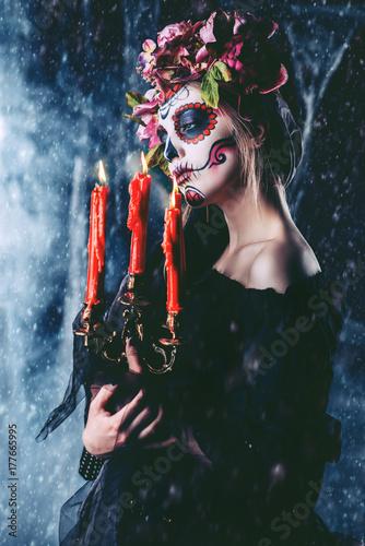 Spoed Fotobehang Halloween makeup on halloween