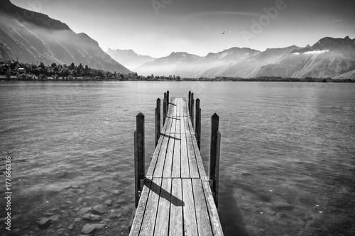 Idyllic Jetty on Geneva Lake in Switzerland