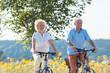 Aktives Senioren Paar beim Fahrrad fahren, Mann und frau sind beide fit