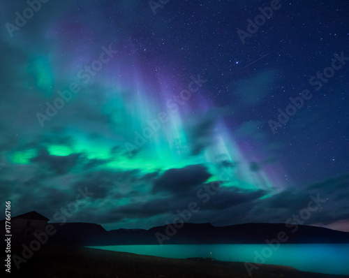 Poster Aurore polaire The polar arctic Northern lights aurora borealis sky star in Norway Svalbard in Longyearbyen the moon mountains