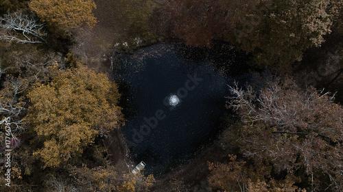 Obraz na płótnie Spadek staw z fontanny Drone