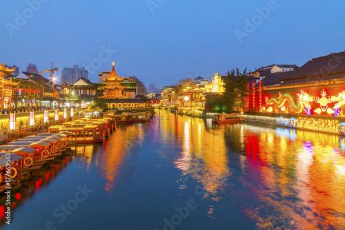 Photo Stands Shanghai Nanjing Qinhuai River night scenery