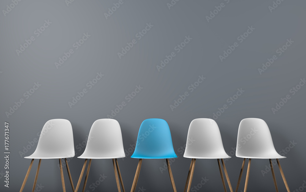 Fototapety, obrazy: Row of chairs with one odd one out. Job opportunity. Business leadership. recruitment concept. 3D rendering