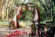 canvas print picture - Wedding ceremony arch, altar decorated with flowers on the lawn