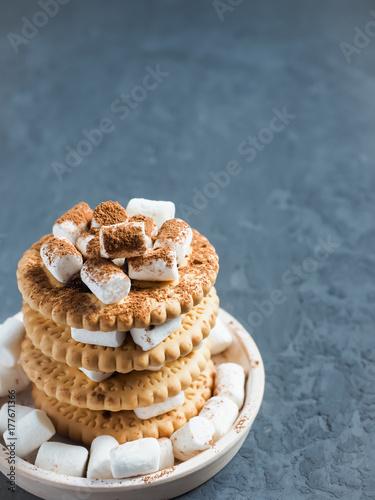 Zdjęcie XXL Marshmallow punkty z czekoladą na ciastkach w warstwach na textured szarość betonują tło. Skopiuj miejsce.