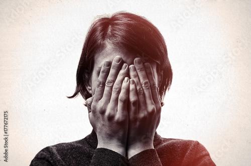 Obraz na płótnie Concept of fear,shame, domestic violence