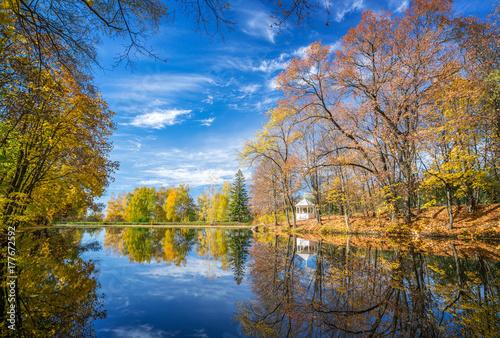 Fototapety, obrazy: Sunny autumn landscape with blue sky over the lake