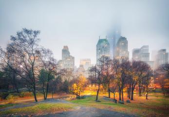 Fototapeta Central park at rainy morning, New York City, USA