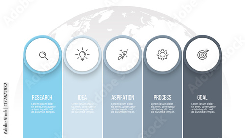 business infographics presentation with 5 columns options vector