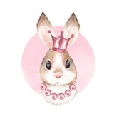 Rabbit and crown. Watercolor illustration - 177673184