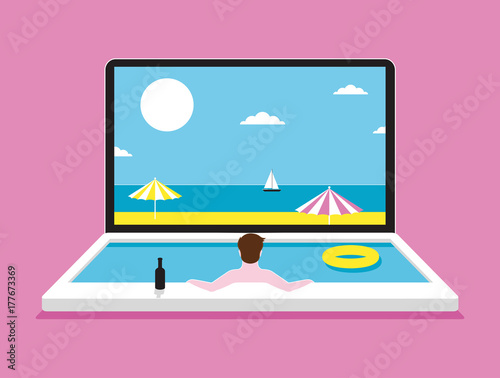 Laptop Holiday Pool