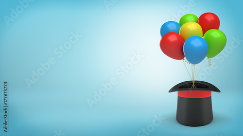 3d rendering of large black illusionist's hat with a red ribbon holds many colorful balloons tied with a string Canvas Print