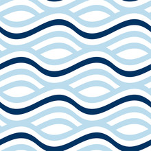 Simple Seamless Pattern With Wave Blue Stripes. Naive Geometry Line Motif